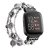 SDMADE Compatible for Fashion Handmade Faux Pearl Natural Stone Elastic Stretch Bracelet Strap Replacement Women Fitness Wristband Fitbit Versa/Fitbit Versa 2 /Fitbit Versa Lite (Black)