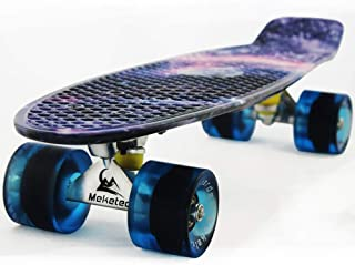 Meketec Skateboards Complete 22 Inch Mini Cruiser Retro Skateboard for Kids Boys Youths Beginners