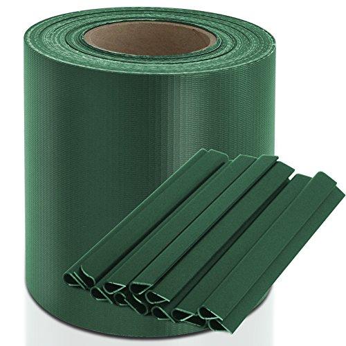 casa pura Sichtschutzstreifen PVC | Sichtschutzfolie Gartenzaun oder Balkon | inkl. 20 Befestigungsclips | für Einzel- und Doppelstabmatten geeignet | 19 cm x 35 m | einfarbig oder mit Motiv| Grün