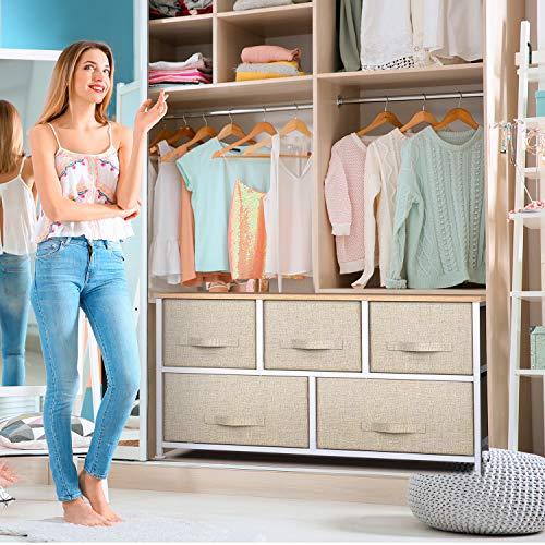 Pipishell cassettiera camera letto in tessuto a 5 cassetti, cassettiera con ampio spazio interno facile da installare, cassettiera ideale per camera da letto, soggiorno, camera da bimbo, corridoio