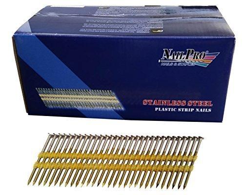 NailPro 3-1/4 Zoll von 0,131 - 1000 Stk. Nail Pro Karton – Typ 304 Edelstahl, 21 Grad (passend für 20–22 Grad Nagel), Kunststoffstreifen – Ringschaft – Vollkopfnägel von Nail Pro