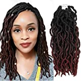 6Packs 12' Goddess Locs Crochet Braids Ombre Burgundy Goddess Faux Locs Crochet Hair Curly Dreadlocks Synthetic Braiding Hair Extensions (12' 6packs 1B/BUG)