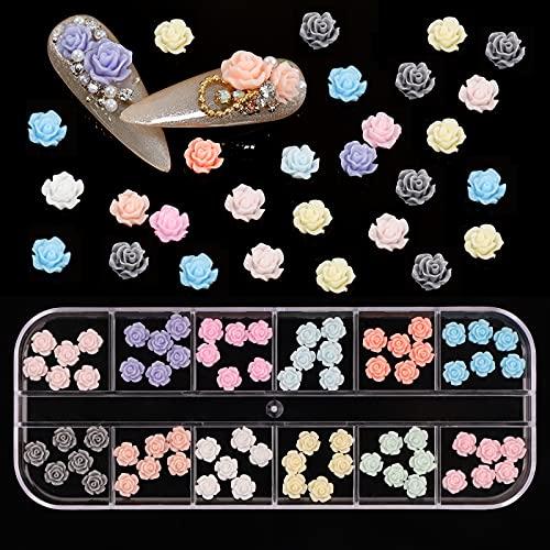 72 Stück Rose Nail Art Charms, 3D Mini Blume Harz Füller, flaches Design Rose Verzierungen für Frauen DIY Maniküre Schmuck, Blumen Charms für Nagelkunst Dekor