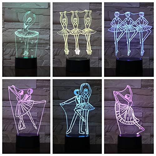 Nur 1 3d Led Lampe Ballett Figur Nachtbett Mehrfarbig Dekorative Licht Mädchen ns Kinder Geschenk Balletto Usb 3d Led Nachtlicht Tisch