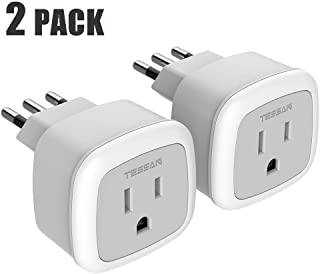Italy Power Adapter 2 Pack, TESSAN Type L European Travel Prong Plug Adaptor American to Italian Outlet Electrical Adapters for Chile Uruguay