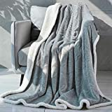 "Sagino Throw Blanket Sherpa Fleece Blanket Reversible Lightweight Flannel Blanket Ultra Soft & Fuzzy Plush Microfiber Blanket for Couch, Bed and Sofa (Queen 90""x90"", Grey)"
