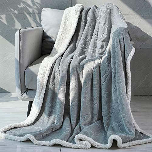 "Sagino Throw Blanket Sherpa Fleece Blanket Reversible Lightweight Flannel Blanket Ultra Soft & Fuzzy Plush Microfiber Blanket for Couch, Bed and Sofa (Twin 60""x80"", Grey)"