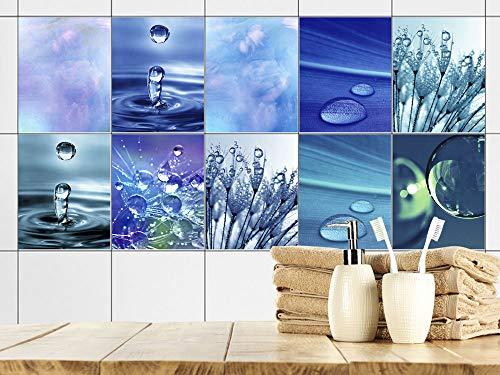 GRAZDesign Fliesenaufkleber Bad 15x20cm Blau Wasser Tropfen, Fliesensticker Fliesen zum Aufkleben Klebefolie für Badfliesen/Set 10 Stück