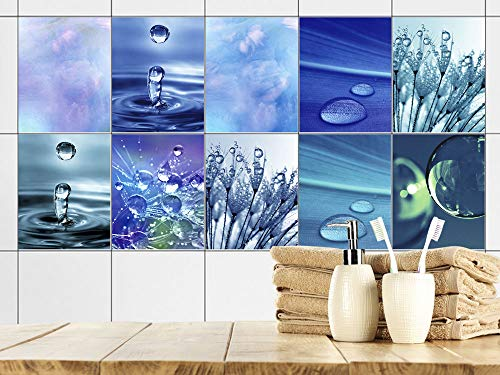 GRAZDesign Fliesenaufkleber Bad 20x25cm Blau Wasser Tropfen, Fliesensticker Fliesen zum Aufkleben Klebefolie für Badfliesen/Set 10 Stück