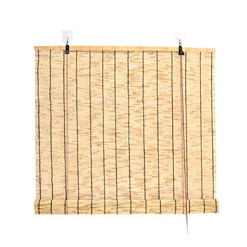 Amiiaz Natural Persianas Romanas Persianas De Caña Bambú Cortina de Paja Cortina de Caña Tejidas A Mano Sombreado Protector Solar para casa-1.3X3m/57X118in A
