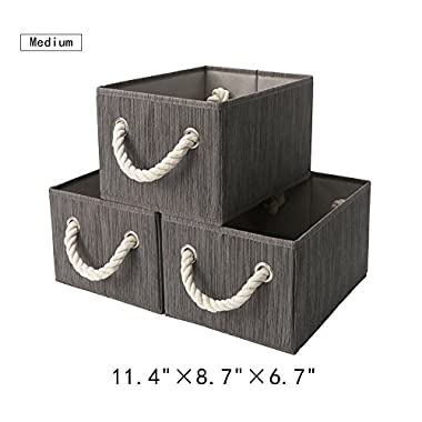 StorageWorks Polyester Storage Box with Strong Cotton Rope Handle, Foldable Basket Organizer Bin, Taupe, Bamboo Style, Medium, 3-Pack