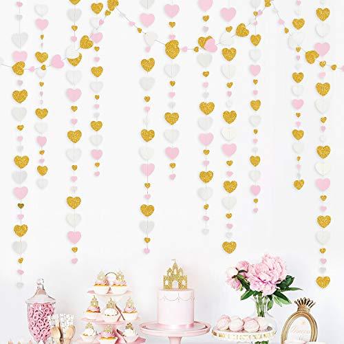Guirnalda de corazones de papel para colgar, color rosa, blanco y dorado, para aniversario, día de la madre, compromiso, boda, fiesta de cumpleaños, decoración