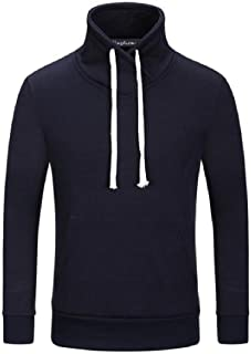 Winwinus Men's Long Sleeve Turtleneck Drawstring Pullover Hoodies Top Tees