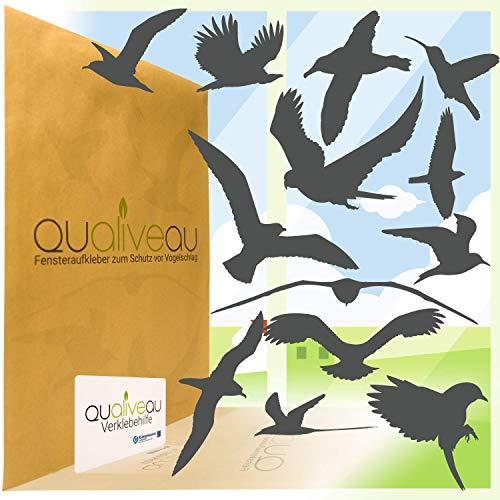 QUALIVEAU® 12-30cm Große Fensterbilder Aufkleber zum Schutz vor Vogelschlag, Komplettset mit Verklebehilfe, Dunkelgrau