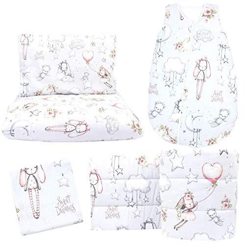Callyna ® - Set lettino da neonato, 5 pezzi: paracolpi 360 cm, traspirante, sacco nanna 3-12 mesi, lenzuolo con angoli, copripiumino, federa 100% Made in EU