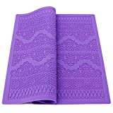Fondant Lace Mold, Beasea Sugarveil Lace Mats Texture Mats for Clay Fondant Impression Mat Lace Mold for Cakes Decorating Lace Cake Molds Flower Pattern Molds Embossed Craft Tools Purple