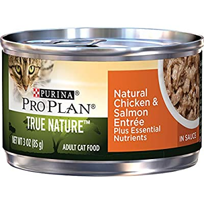 Purina Pro Plan Natural Wet Cat Food, TRUE NATURE Natural Chicken & Salmon Entree in Sauce - (24) 3 oz. Pull-Top Cans