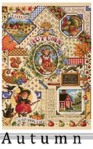 Zamtac Gold Collection Lovely Counted Cross Stitch Kit Spring Summer Autumn Winter Time Sampler janlynn Four Seasons Season - (Color: Autumn, Cross Stitch Fabric CT Number: 18CT unprint Canvas)