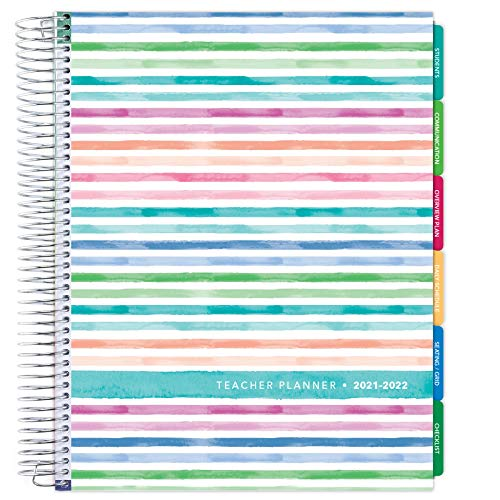 """Deluxe 2021-2022 Dated Teacher Planner: 8.5""""x11"""" Includes 7 Periods, Page Tabs, Bookmark, Planning Stickers, Pocket Folder Daily Weekly Monthly Planner Yearly Agenda (Watercolor Stripes)"""