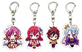 EBTY-Dreams Inc. - Set of 4 No Game, No Life Anime Acrylic Keychain Sora, Shiro, Stephanie Dola, Jibril