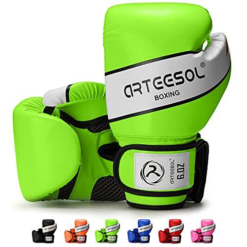 arteesol Boxhandschuhe Kinder 4oz/6oz/8oz die schwere Taschen trainieren Trainingshandschuhe Boxsack Sparring Kampf/Kickboxen/Muay Thai Sportspiel 2er-Set