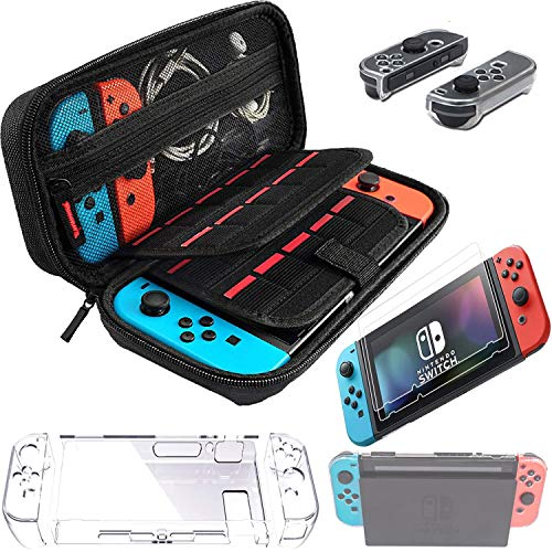 Switch Games Accessories - Black Carry Case for Nintendo Switch Joy Con Covers Transparent Switch Hard Cover9H Tempered Glass Screen Protector
