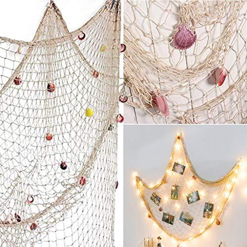 Nautische dekorative Fischernetz Meer Thema Fischnetz Dekor für Wanddekoration, mediterrane Fischernetz Dekoration Wandanhänger 1,5M * 2M weißes Netz mit Muschel