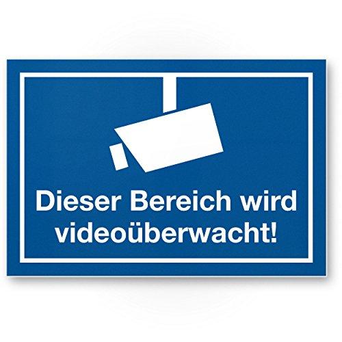 Komma Security Bereich wird videoüberwacht Kunststoff Schild Hinweisschild Innen Außen Warnhinweis Videoüberwachung Einbruchschutz Hinweis Prävention von Einbrüchen - Abschreckung