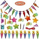 Faburo 42Pcs Schuleinführung Einschulung Deko Set Schule Bunte Zuckertüte Einschulung ABC 123 Buchstaben Sterne Aufkleber für Kinder Schulanfang Dekoration