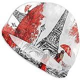 Maselia Adult Swim Cap Paris Lovers Kiss in Street Paraguas Rojo Torre Eiffel Gorro de natación de Alta Elasticidad