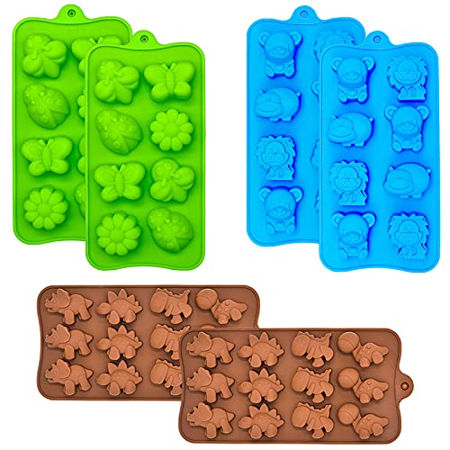Candy Chocolate Molds Silicone, Non-stick Animal Jello Molds, Crayon Mold, Silicone Baking Mold - BPA Free, Forest Theme with Different Animals, including Dinosaurs, Bear, Lion and Butterfly, Set of 6