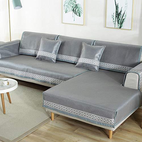 YUTJK Pad de enfriamiento de sofá de Verano Lavable,Salón de sofá,Fundas de Asiento de sofá de Tela para Sala de Estar,Funda Protectora de Muebles,Gris_90×120cm