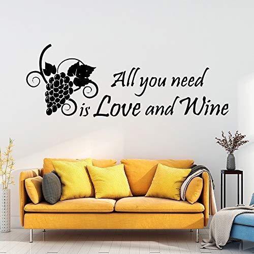 ganlanshu Alles, was Sie brauchen, ist Liebe und Wein Wandaufkleber Wohnkultur für Kinderzimmer Art-Deco-Tapete 75cmx27cm