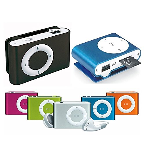 takestop Mini Lettore MP3 Player YF Clip USB Supporta 32GB Micro SD FM Radio Batteria Litio Colore Casuale