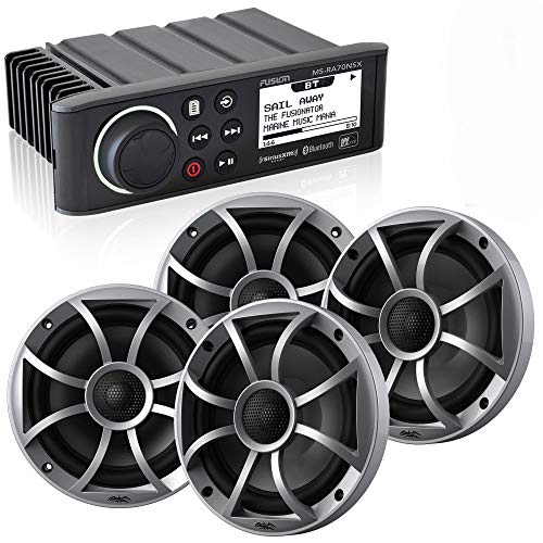 """Fusion MS-RA70NSX Marine AM/FM/BT/NEMA2000 Stereo with 2 Pair Wet Sounds Recon 6-S High Output 6.5"""" Marine Coaxial Speakers, Silver Grill"""
