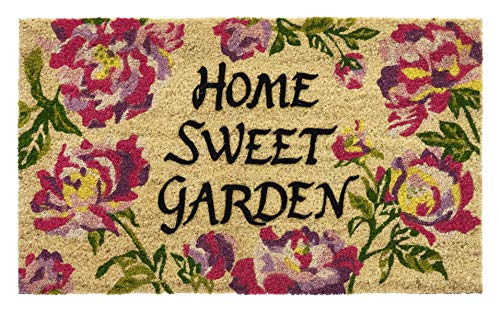 HF by LT Home Sweet Garden 100% Coir Doormat, 18 x 30 inches, Slip-Resistant PVC Backing, Flocked Lettering with Whimsical Design, Durable, Sustainable