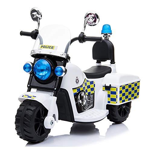 ATAA Moto de Policía Mini - Blanco - Moto eléctrica para niños con batería 6v. Moto de policía Infantil