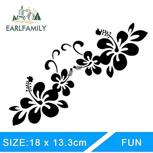 BJDKF 18 cm x 13,3 cm 1 paar stickers voor planten bloemen bumperstickers voor auto creatieve bloemen zilver zwart Wit.