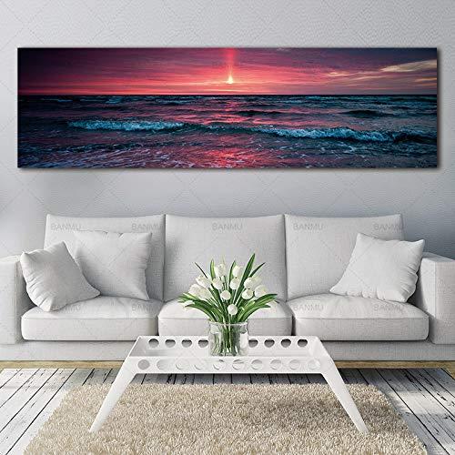 Kingkoil Wandbild, Landschaft, Leinwandbild mit Meereswelle, Kunstdruck, Leinwand, Poster, Heimdekoration, 20 x 30 cm, ohne Rahmen