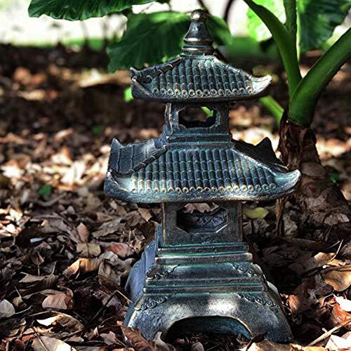 Adornos Jardín Japonés Lámpara De Paisaje Jardín Lámpara De Piedra Antigua Templo Linterna De Piedra De Cuatro Esquinas Jardín Torre De Piedra Decoración De Piso- 30 * 50 Cm Bronce