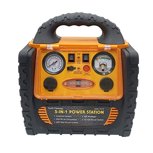 HH-715 Digital Portable Power Station Jump Starter with Double DC sockets 12V/11A, 260 PSI Digital Air Compressor, 5V/2.1A USB Ports, Double AC 110 Volt Inverter outlet 400W