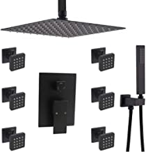 "2020 Modern Matte Black Rainfall Shower Faucet Set, Enga 12"" High Pressure Shower Head System with Body Sprays, Luxury Bat..."
