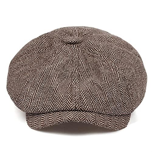 Fuxwlgs Berets Retro Herringbone Newsboy Caps Men Newsboy hat Stitching Berets Cap (Color : Brown, Hat Size : Large)