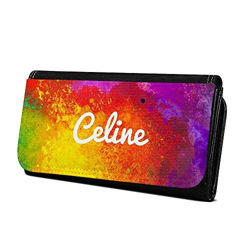 Geldbörse mit Namen Celine - Design Color Paint - Brieftasche, Geldbeutel, Portemonnaie, personalisiert für Damen und Herren