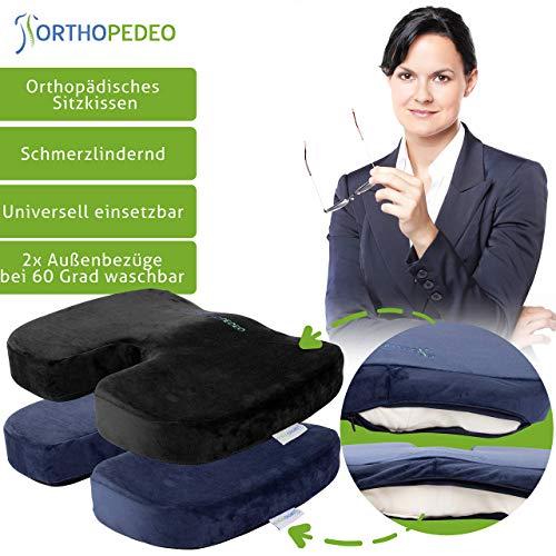 ORTHOPEDEO Ausverkauf Sitzkissen mit 2 Bezügen - I Gel-Sitzkissen Rollstuhl Büro Kissen für Wirbelsäule I Steißbein Sitzkissen gegen Rückenschmerzen - Memory Foam
