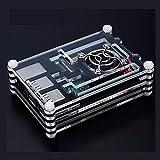 Accesorios de piezas de impresora 3D, para estuche Hot Raspberry Pi 3B + Estuche de caja de acrílico de 9 capas, negro, azul, rojo, verde para Raspberry Pi 3 Modelo B Estuche al por mayor (Color: Negr