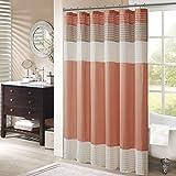 Madison Park Amherst Bathroom Shower Faux Silk Pieced Striped Modern Microfiber Bath Curtains, 72 in x 72 in, Coral