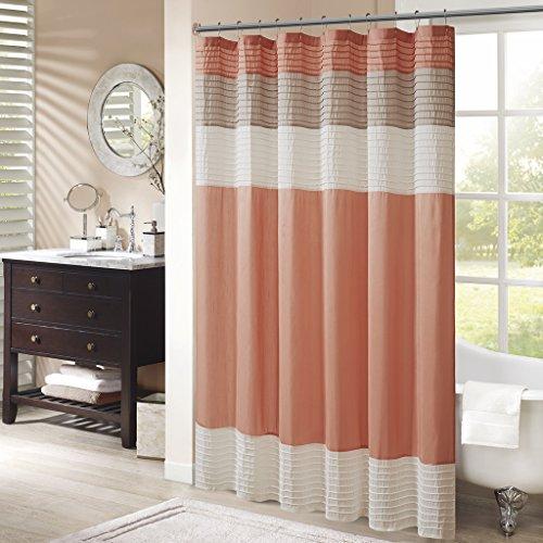 Madison Park Amherst Bathroom Shower Faux Silk Pieced Striped Modern Microfiber Bath Curtains, 72x72 Inches, Coral