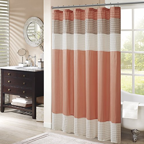 Madison Park Amherst Bathroom Shower Faux Silk Pieced Striped Modern Microfiber Bath Curtains, 72x72 Inches, Coral