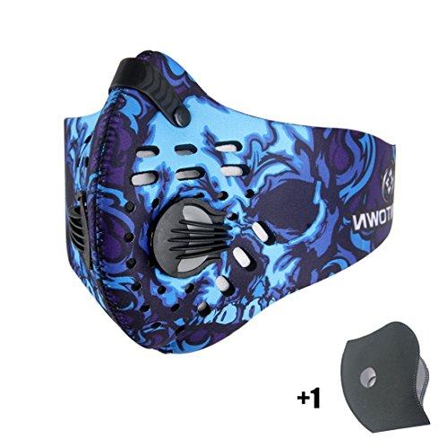 Máscara de Avanigo antipolvo, antipolen, antiescapes de gas de carbono activo para deportes al aire libre (ciclismo, athletismo), azul